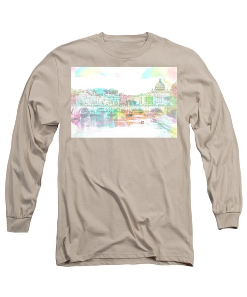 The View From Castel Sant'angelo Towards Ponte Sant'angelo, Brid Long Sleeve T-Shirt