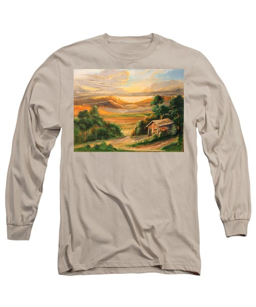 The Warmth Of Sunset Long Sleeve T-Shirt by Remegio Onia
