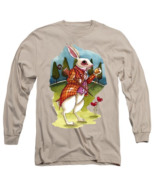 The White Rabbit Is Late Long Sleeve T-Shirt by Lucia Stewart