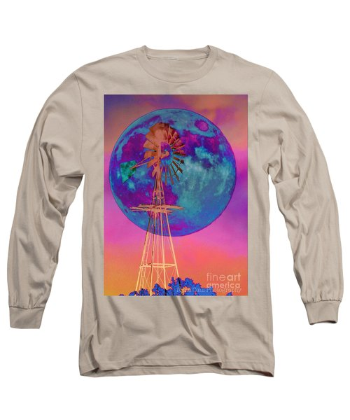 The Windmill And Moon In A Sherbet Sky Long Sleeve T-Shirt by Toma Caul