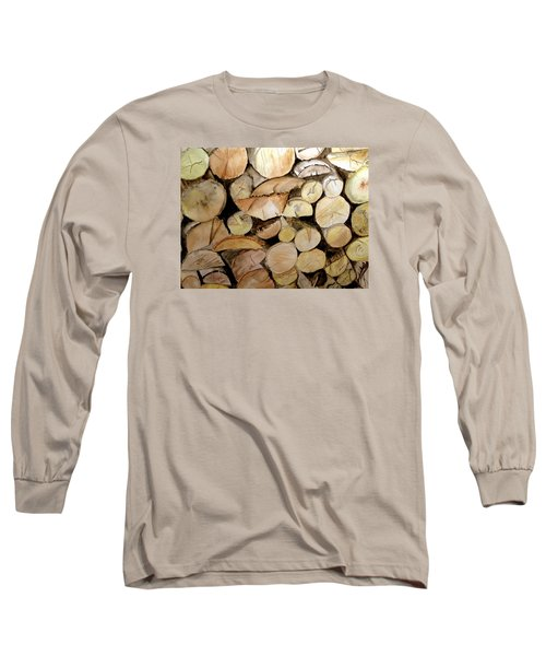 Long Sleeve T-Shirt featuring the painting The Woodpile by Carol Grimes