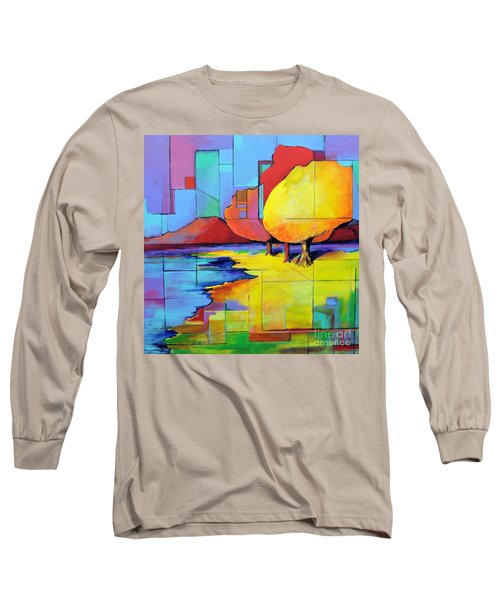 Long Sleeve T-Shirt featuring the painting The Yellow Tree by Jodie Marie Anne Richardson Traugott          aka jm-ART