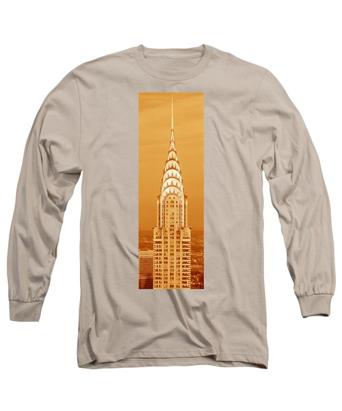 Chrysler Building At Sunset Long Sleeve T-Shirt by Panoramic Images