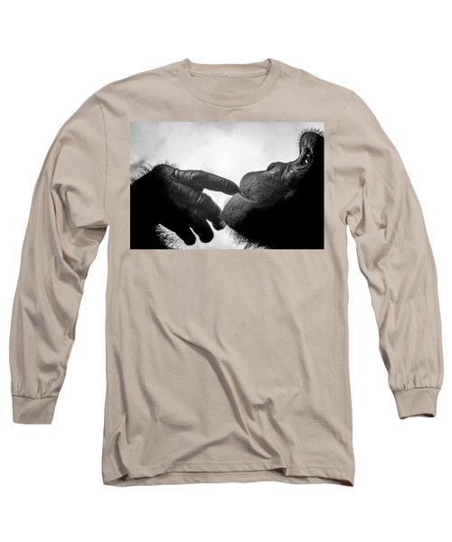 Thoughtful Chimpanzee Long Sleeve T-Shirt
