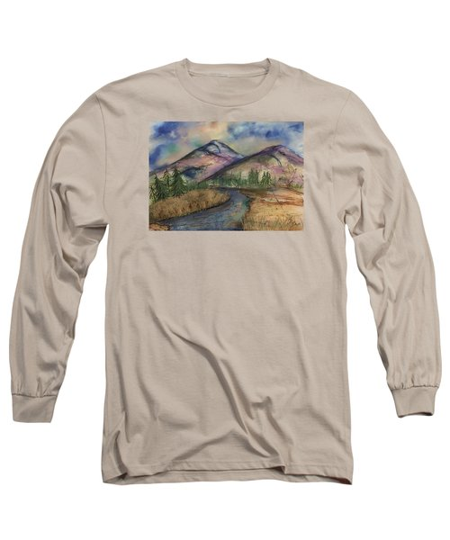 Long Sleeve T-Shirt featuring the painting Thoughts Of Glacier by Annette Berglund