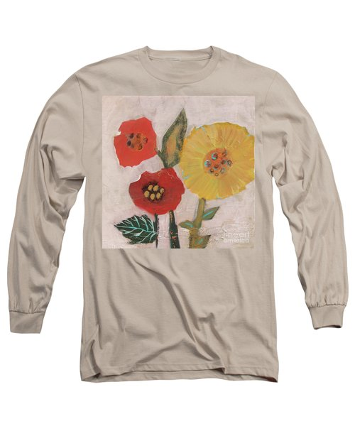 Long Sleeve T-Shirt featuring the painting Three Awkward Flower Blossoms by Robin Maria Pedrero