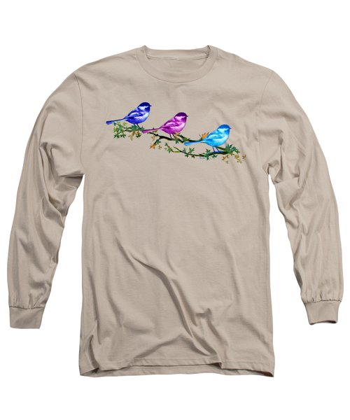 Three Chickadees Long Sleeve T-Shirt by Teresa Ascone