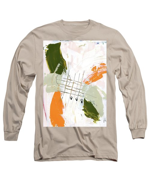 Long Sleeve T-Shirt featuring the painting Three Color Palette Orange 3 by Michal Mitak Mahgerefteh