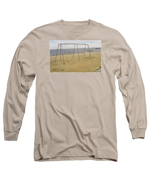 Long Sleeve T-Shirt featuring the photograph Three Gulls And A Swing Set by Melissa Messick