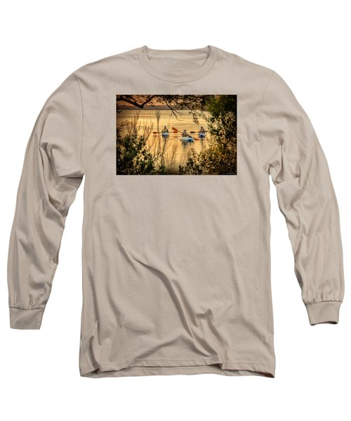 Long Sleeve T-Shirt featuring the digital art Three Kayaks Coming Home by Phil Mancuso