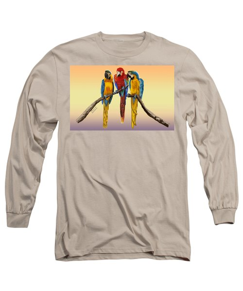 Three Macaws Hanging Out Long Sleeve T-Shirt