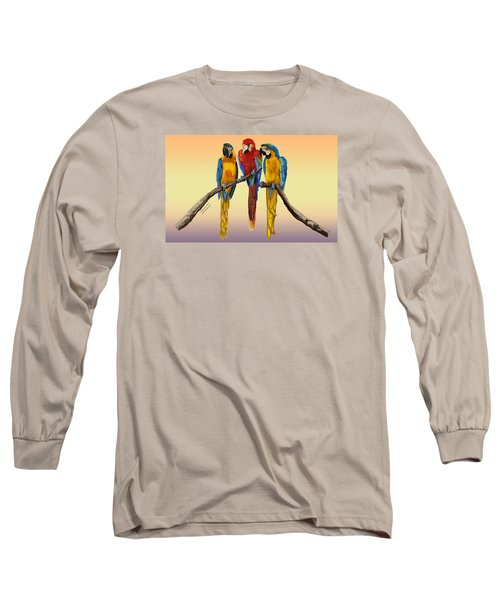 Long Sleeve T-Shirt featuring the painting Three Macaws Hanging Out by Thomas J Herring