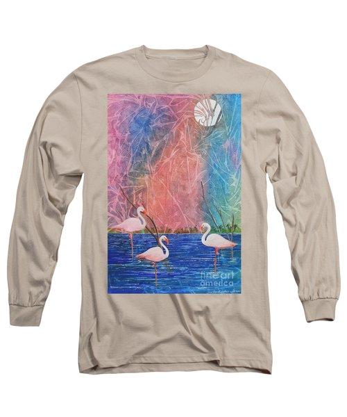 Three Pink Flamingos Long Sleeve T-Shirt
