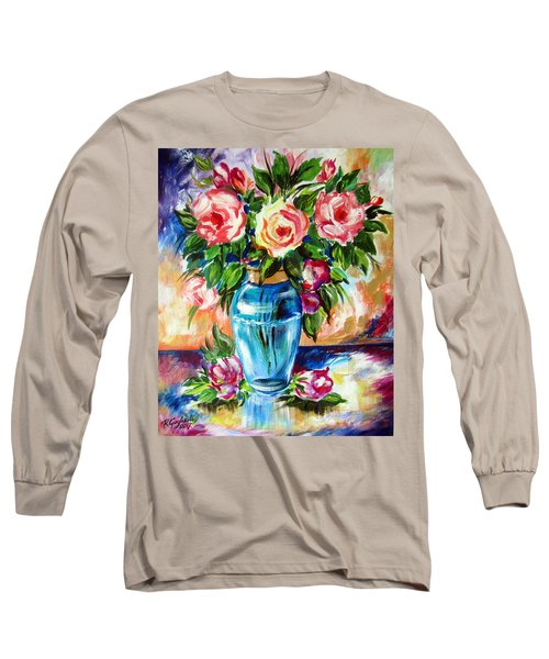 Long Sleeve T-Shirt featuring the painting Three Roses In A Glass Vase by Roberto Gagliardi