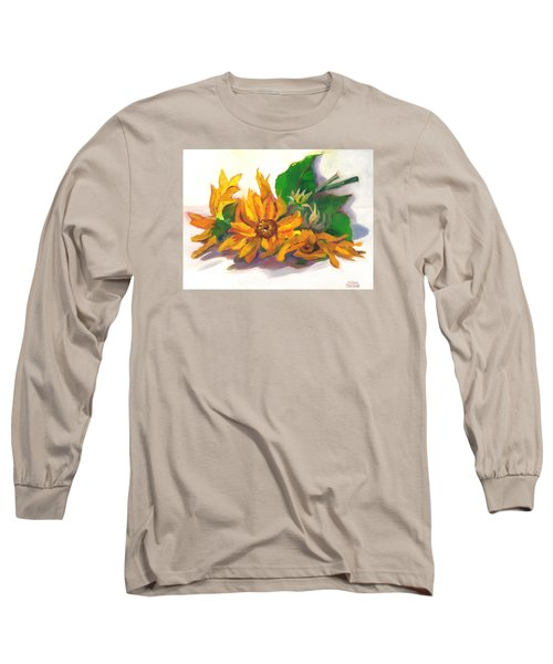 Three Sunflowers Long Sleeve T-Shirt by Susan Thomas