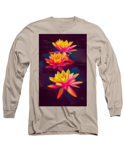 Long Sleeve T-Shirt featuring the photograph Three Waterlilies by Chris Lord
