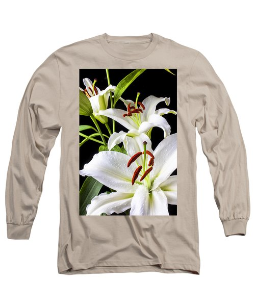 Three White Lilies Long Sleeve T-Shirt by Garry Gay