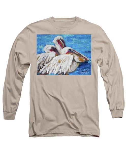 Three White Pelicans Long Sleeve T-Shirt