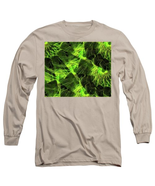 Long Sleeve T-Shirt featuring the digital art Threshed Green by Ron Bissett