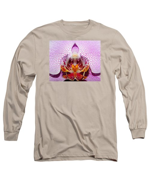 Long Sleeve T-Shirt featuring the photograph Throat Of An Orchid by Judy Vincent