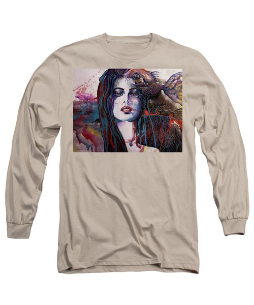 Long Sleeve T-Shirt featuring the painting Through My Mind by Geni Gorani