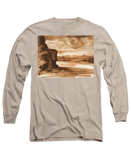 Tiber Landscape North Of Rome With Dark Cloudy Sky Long Sleeve T-Shirt