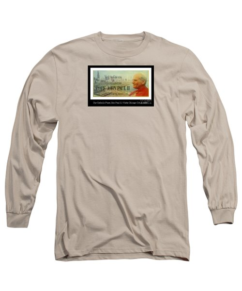 Long Sleeve T-Shirt featuring the photograph Ticket To Pope John Paul In Chicago 1979 by Sherri  Of Palm Springs