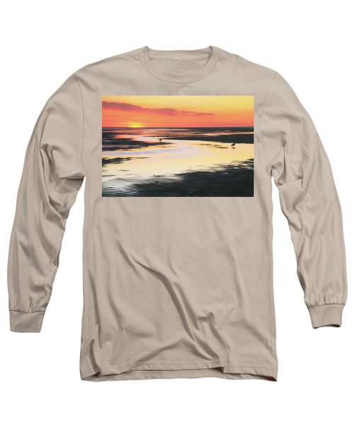 Long Sleeve T-Shirt featuring the photograph Tidal Flats At Sunset by Roupen  Baker