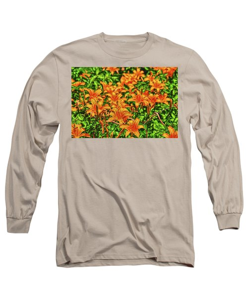 Tiger Lilies Long Sleeve T-Shirt by Pat Cook