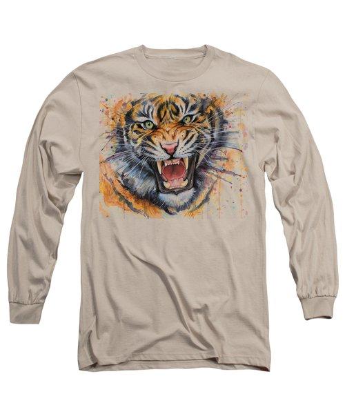 Tiger Watercolor Portrait Long Sleeve T-Shirt by Olga Shvartsur