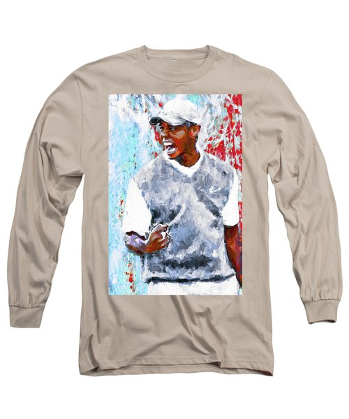 Tiger Woods One Two Red Painting Digital Long Sleeve T-Shirt