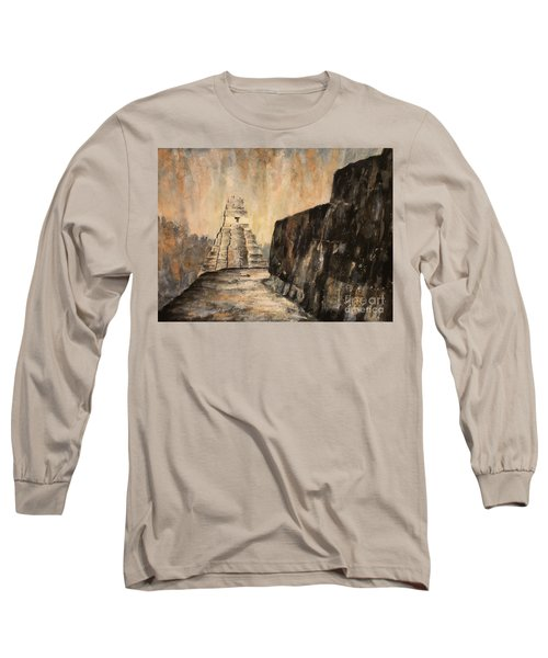 Long Sleeve T-Shirt featuring the painting Tikal Ruins- Guatemala by Ryan Fox