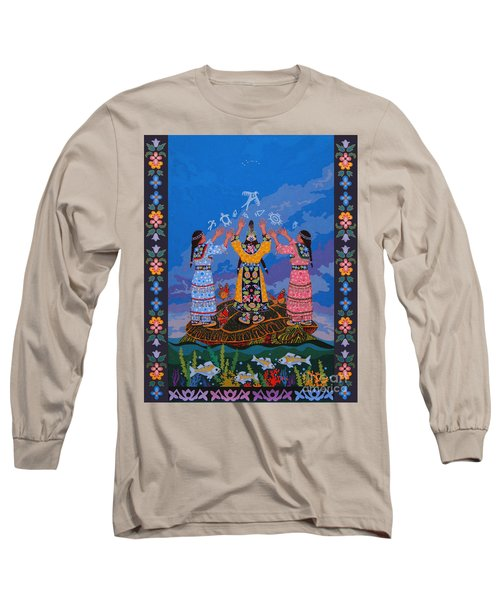 Long Sleeve T-Shirt featuring the painting Together We Over Come Obstacles by Chholing Taha