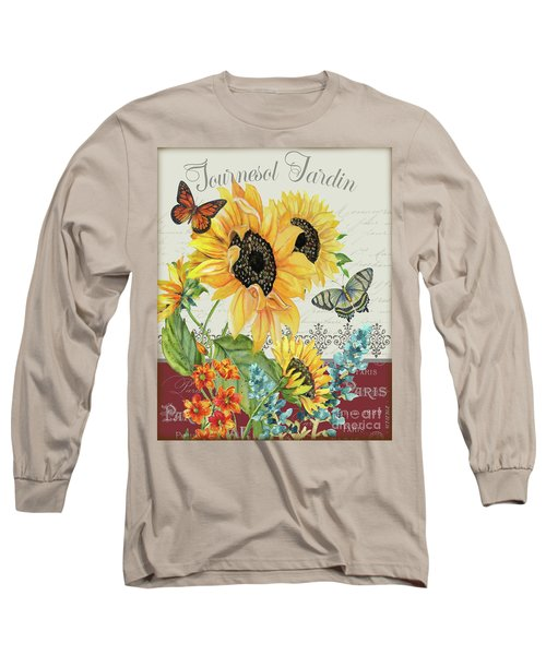 Long Sleeve T-Shirt featuring the painting Tournesol Jardin-jp3986 by Jean Plout