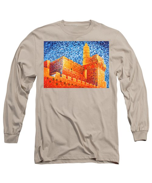 Long Sleeve T-Shirt featuring the painting Tower Of David At Night Jerusalem Original Palette Knife Painting by Georgeta Blanaru
