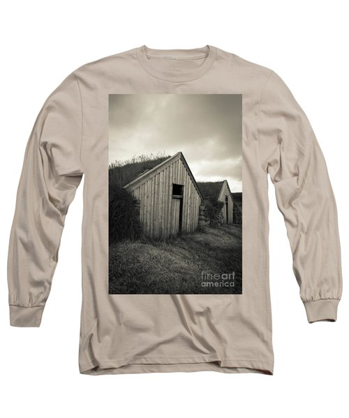 Long Sleeve T-Shirt featuring the photograph Traditional Turf Or Sod Barns Iceland by Edward Fielding