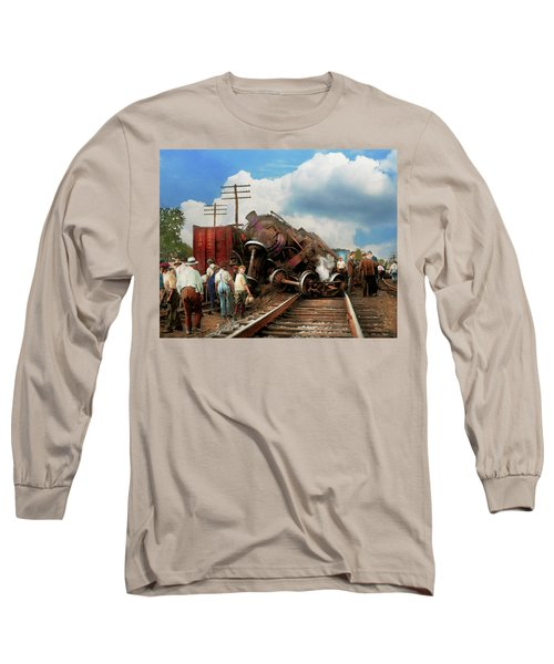 Long Sleeve T-Shirt featuring the photograph Train - Accident - Butting Heads 1922 by Mike Savad