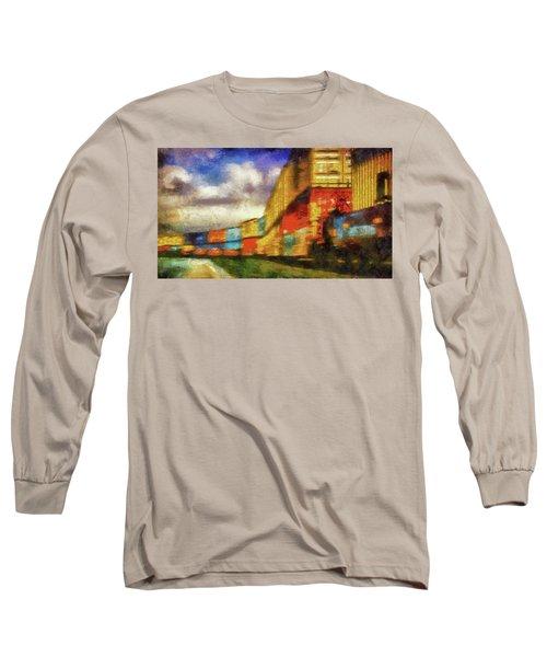 Train Freight Cars Long Sleeve T-Shirt by Joseph Hollingsworth