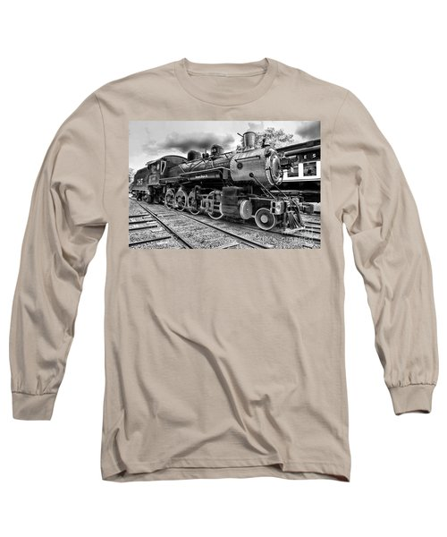Train - Steam Engine Locomotive 385 In Black And White Long Sleeve T-Shirt