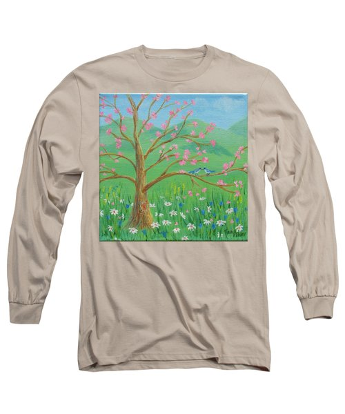 Long Sleeve T-Shirt featuring the painting Tree For Two by Nancy Nale