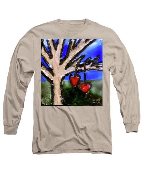 Long Sleeve T-Shirt featuring the painting Tree Hearts by Genevieve Esson