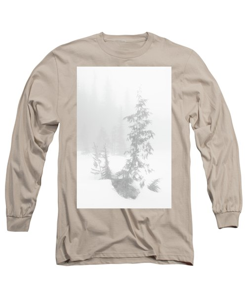Trees In Fog Monochrome Long Sleeve T-Shirt