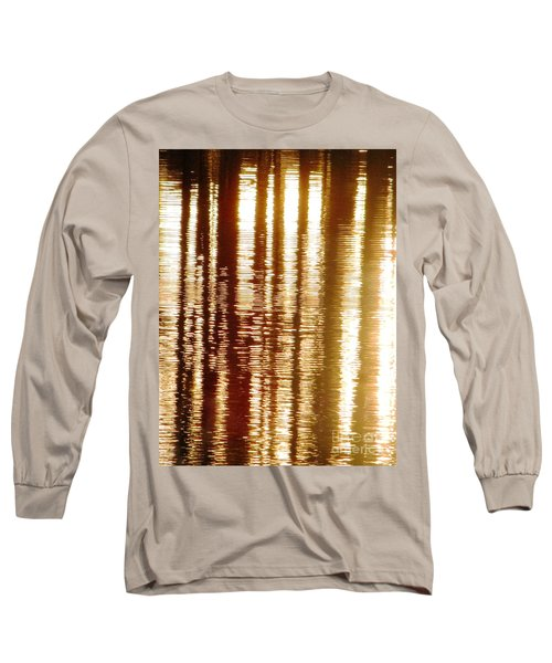 Trees On Rippled Water Long Sleeve T-Shirt by Melissa Stoudt