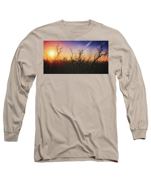 Long Sleeve T-Shirt featuring the photograph Treetop Silhouette - Sunset At Lapham Peak #1 by Jennifer Rondinelli Reilly - Fine Art Photography