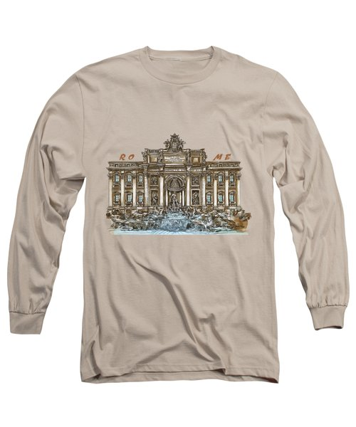 Long Sleeve T-Shirt featuring the painting  Trevi Fountain,rome  by Andrzej Szczerski