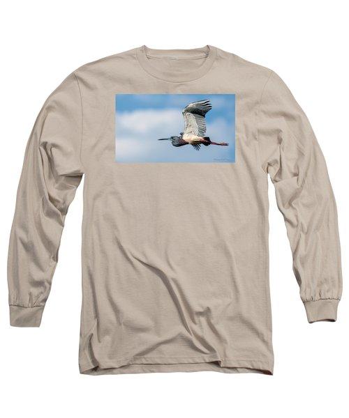 Tri-colored Heron In Flight Long Sleeve T-Shirt