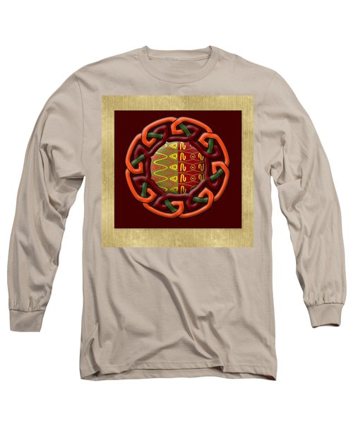 Long Sleeve T-Shirt featuring the painting Tribal Celt Earthiness by Kandy Hurley