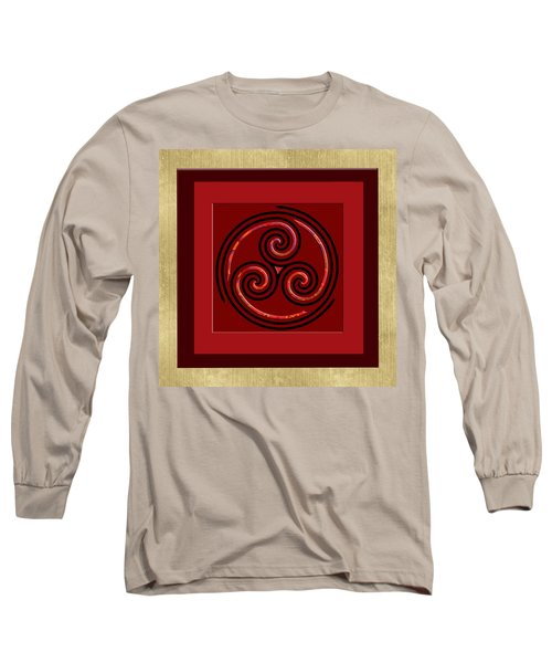 Long Sleeve T-Shirt featuring the painting Tribal Celt Triple Spiral by Kandy Hurley
