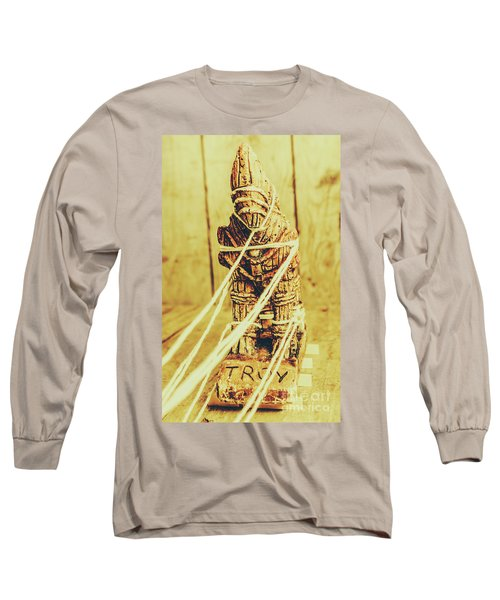 Trojan Horse Wooden Toy Being Pulled By Ropes Long Sleeve T-Shirt