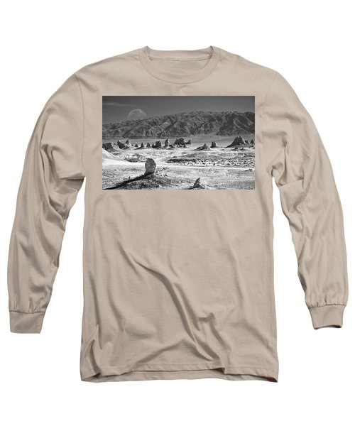 Trona Pinnacles With The Moon Long Sleeve T-Shirt